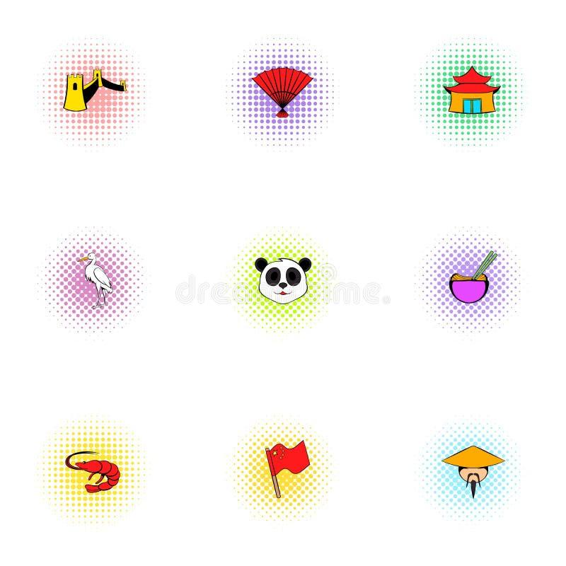 China Republic icons set, pop-art style stock illustration