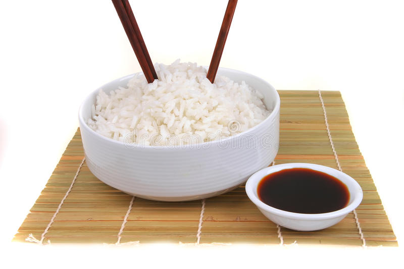China rice on traditional bamboo mat stock photo