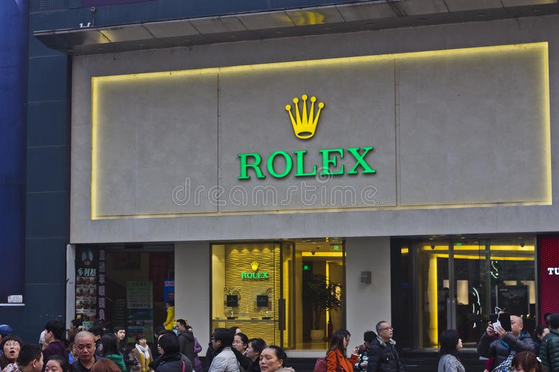 China: ROLEX. ROLEX store in Chongqing,China. Photo taken on February 2, 2014 stock image