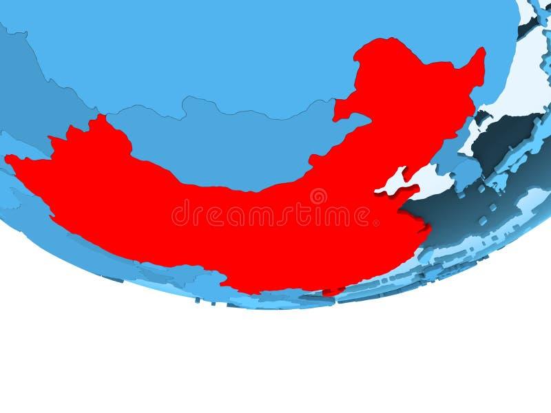 China in rood op blauwe kaart royalty-vrije illustratie