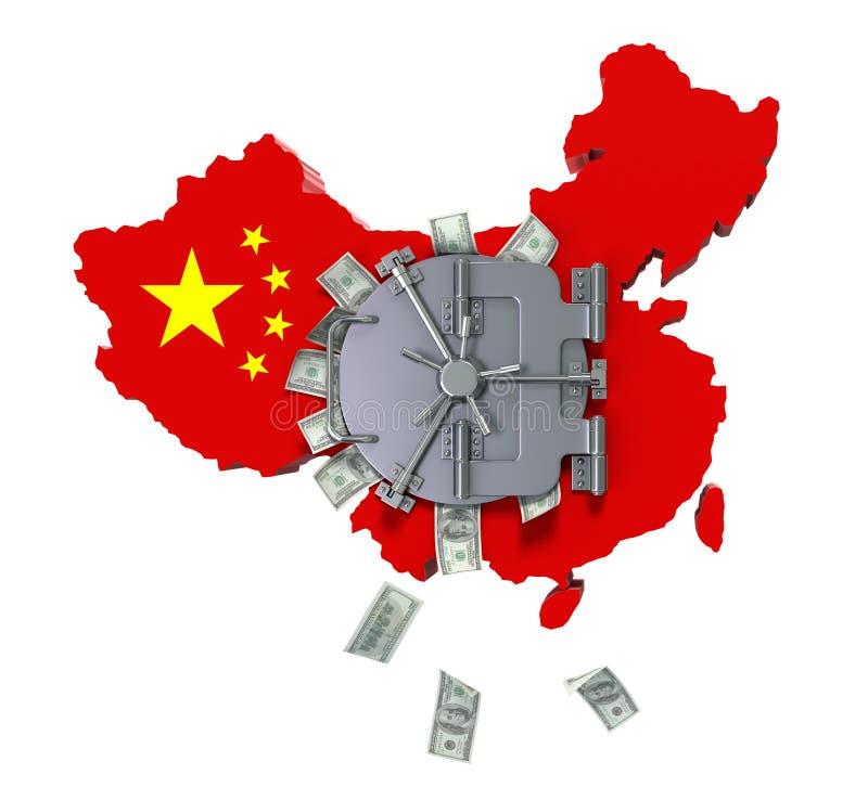 China's dollar reserves vector illustration