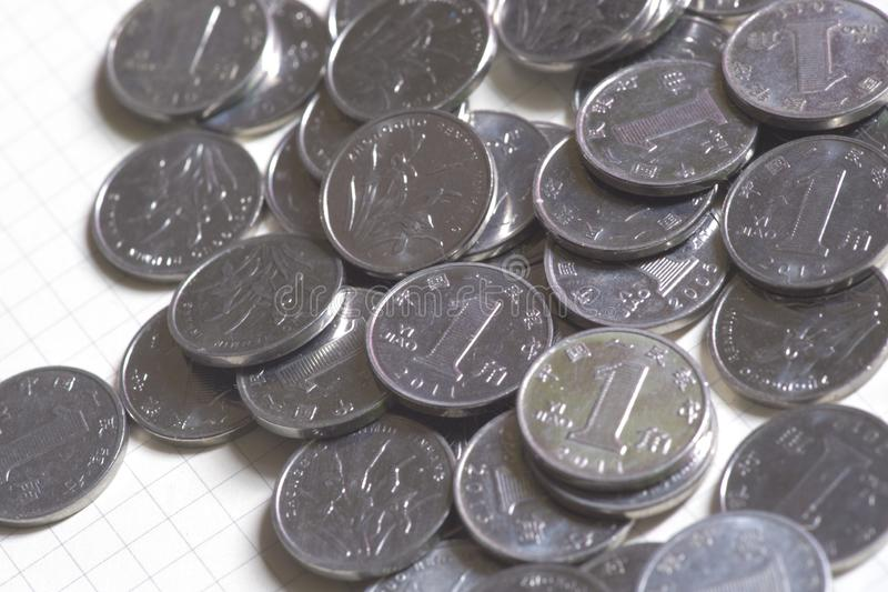 China`s 10 fen coins are very small,currency royalty free stock photography