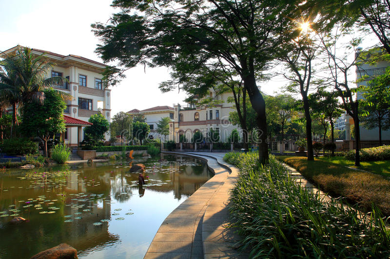 China's real estate community environment. The Chinese way of life,building,Architectural appearance,Living environment,Residential landscape royalty free stock image
