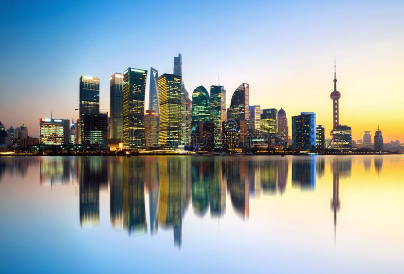 Shanghai city skyline. China`s Shanghai city skyline, Lujiazui night view stock photography