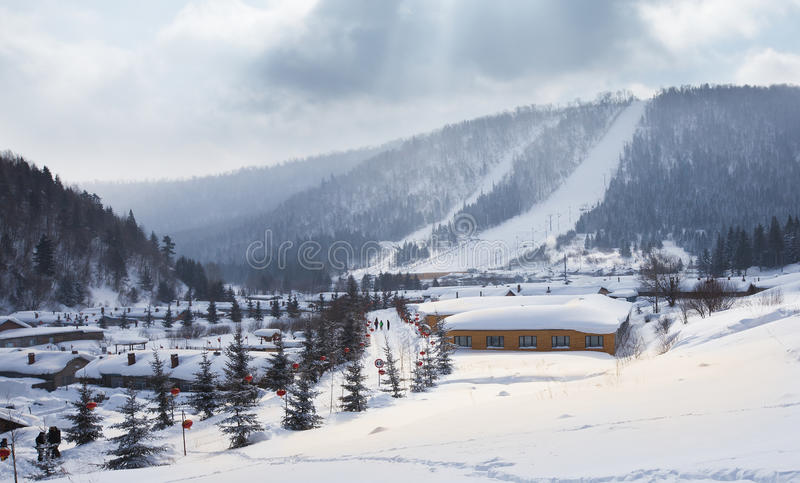 China's snow town. Shuangfeng is a small village a mountain where are more than 20 families live there stock image