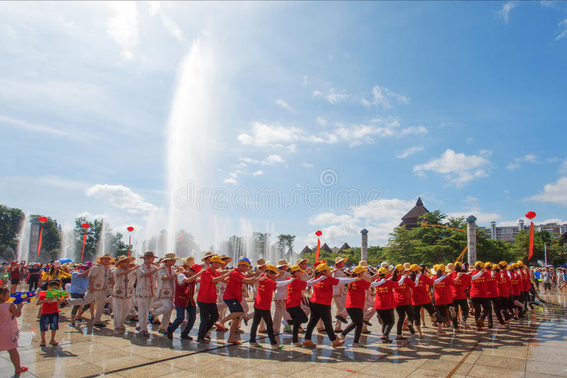 China`s water festival. Every March 3rd., people lived in Hainan China gathered in square to celebrate their water festival stock photo