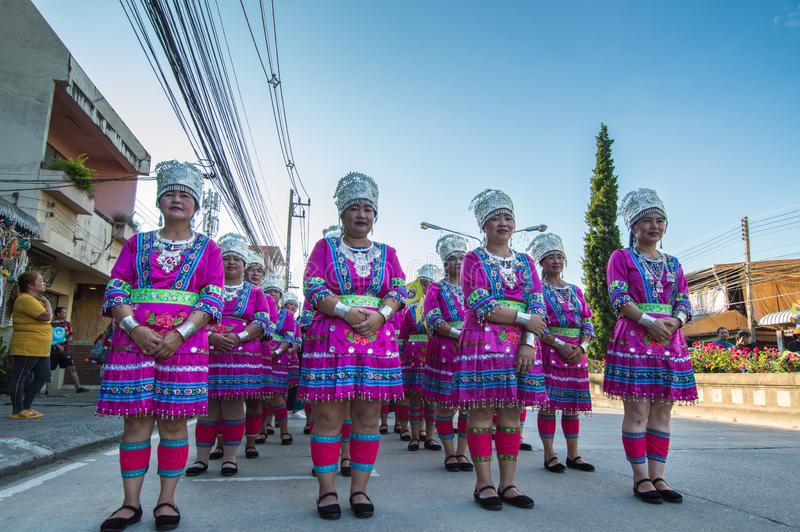 China`s Yunnan people in the parade for promoted 46th Thailand National Games. Chiang Rai, Thailand – October 28, 2018 : Traditional Parade for promoted royalty free stock photos