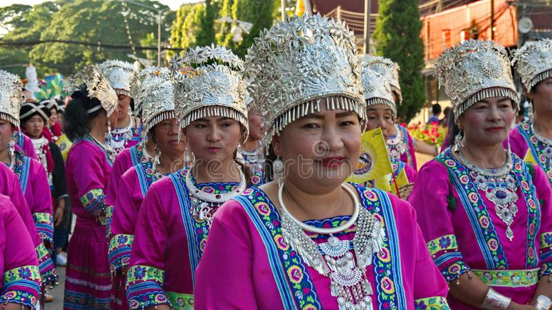 China`s Yunnan people in the parade for promoted 46th Thailand National Games. Chiang Rai, Thailand – October 28, 2018 : Traditional Parade for promoted royalty free stock image