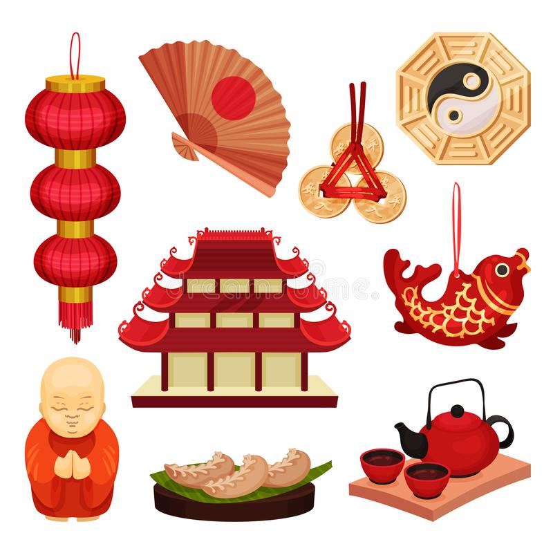 China set. Oriental culture and traditions. Vector illustration. vector illustration