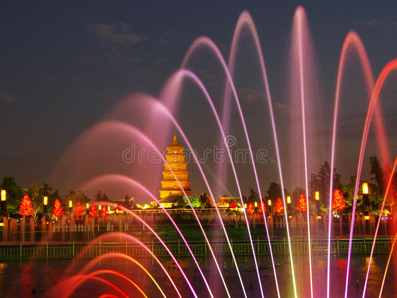 China shaanxi xi 'an wild goose pagoda, music fountain. Night at China xi 'an wild goose pagoda, is a famous tourist resort, historic buildings stock photography