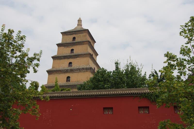China shaanxi xi 'an wild goose pagoda, music fountain. Night at China xi 'an wild goose pagoda, is a famous tourist resort, historic buildings stock photos