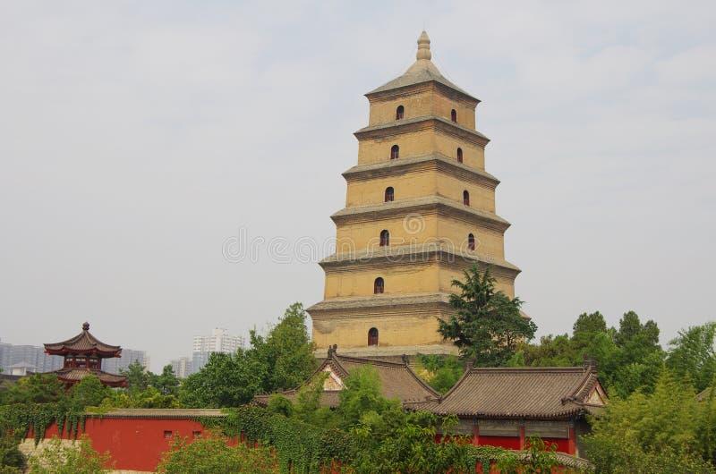 China shaanxi xi 'an wild goose pagoda, music fountain. Night at China xi 'an wild goose pagoda, is a famous tourist resort, historic buildings stock photography