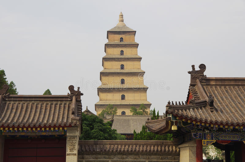 China shaanxi xi 'an wild goose pagoda, music fountain. Night at China xi 'an wild goose pagoda, is a famous tourist resort, historic buildings stock image