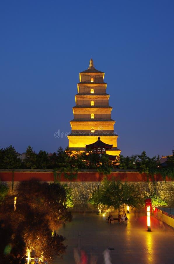 China shaanxi xi 'an wild goose pagoda, music fountain. Night at China xi 'an wild goose pagoda, is a famous tourist resort, historic buildings royalty free stock photo