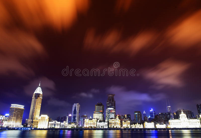 China shanghai bund panorama royalty free stock images