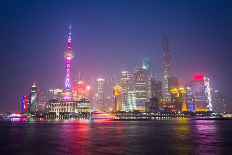 China, Shanghai, The Bund Wai Tan. Huangpu river stock photo