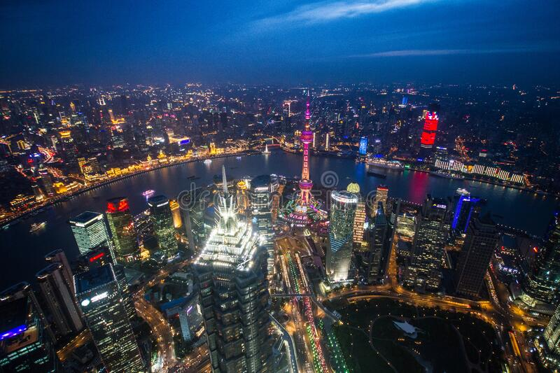 China, Shanghai, night view from the top royalty free stock images
