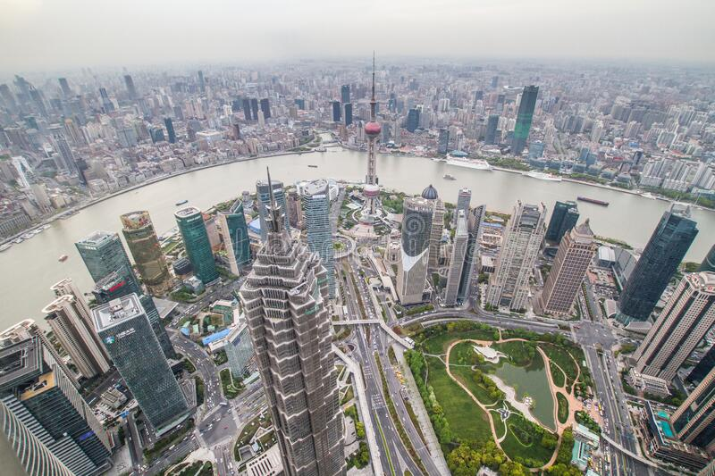 China, Shanghai, top view stock image