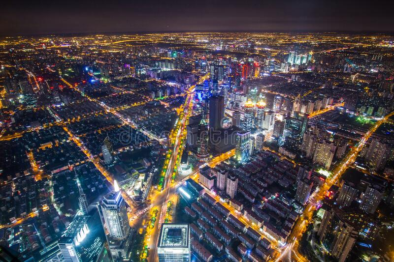 China, Shanghai, top view stock images