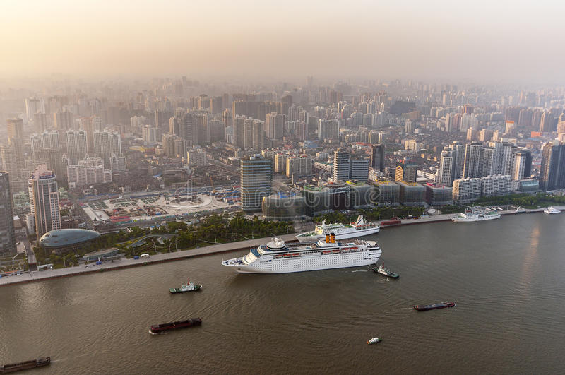 China, Shanghai. View from the Oriental Pearl Tower royalty free stock images