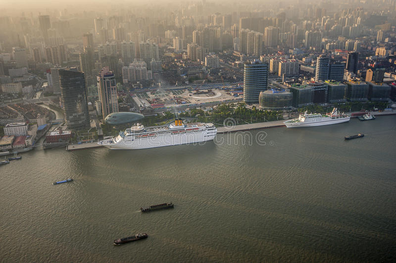 China, Shanghai. View from the Oriental Pearl Tower royalty free stock image