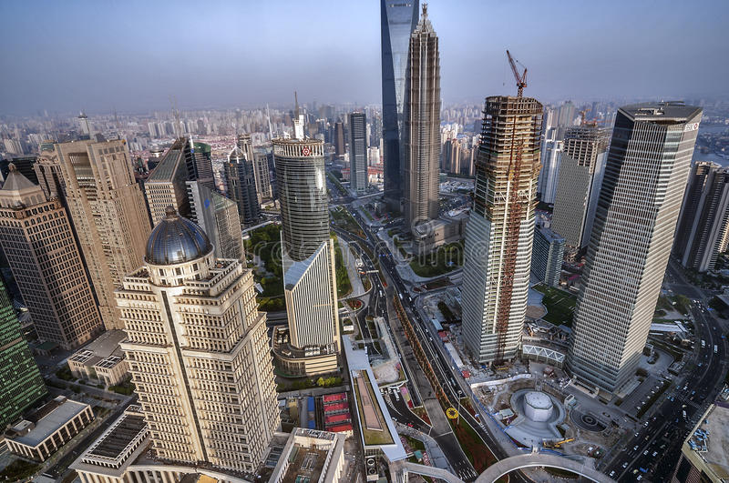 China, Shanghai. A view of the skyscrapers of Pudong area. royalty free stock photo
