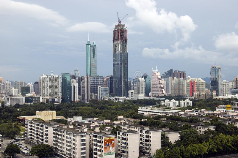 China, Shenzhen city skyscrapers. SHENZHEN, CHINA - SEPTEMBER 14: Two, highest skyscrapers in Shenzhen on September 14, 2010. Shun Hing Square, named also as stock images