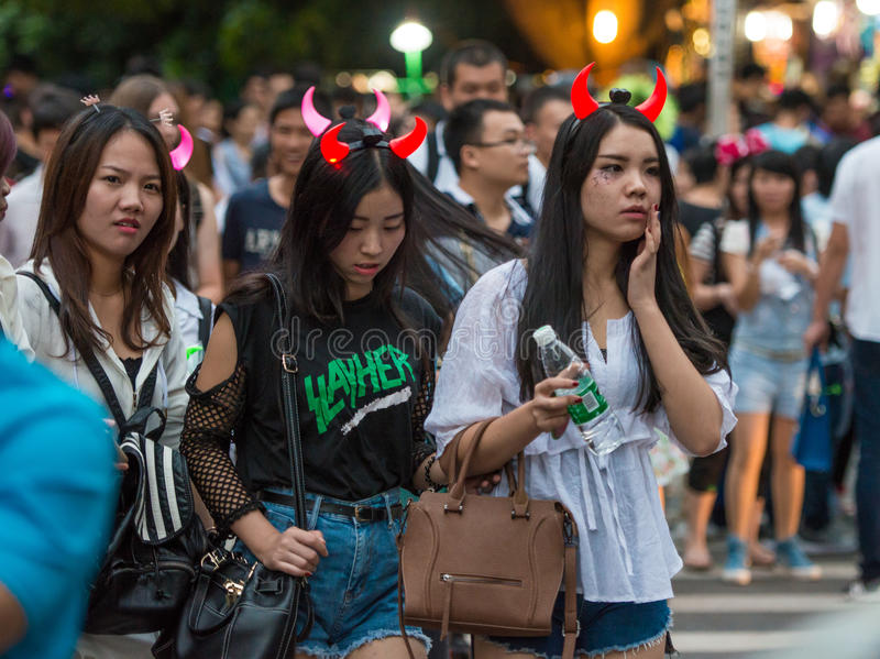 download china shenzhen many people squeezed into the theme park to participate in halloween activities editorial