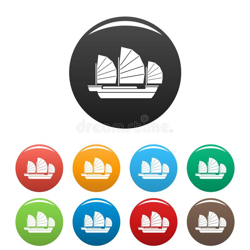 China ship icons set color. China ship icons set 9 color vector isolated on white for any design vector illustration