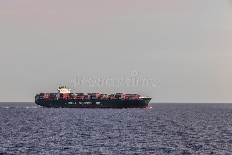 China Shipping Line container ship. MEDITERRANEAN SEA, INTERNATIONAL WATERS - JULY 25, 2016: View of of a China Shipping Line container ship crossing the royalty free stock photography