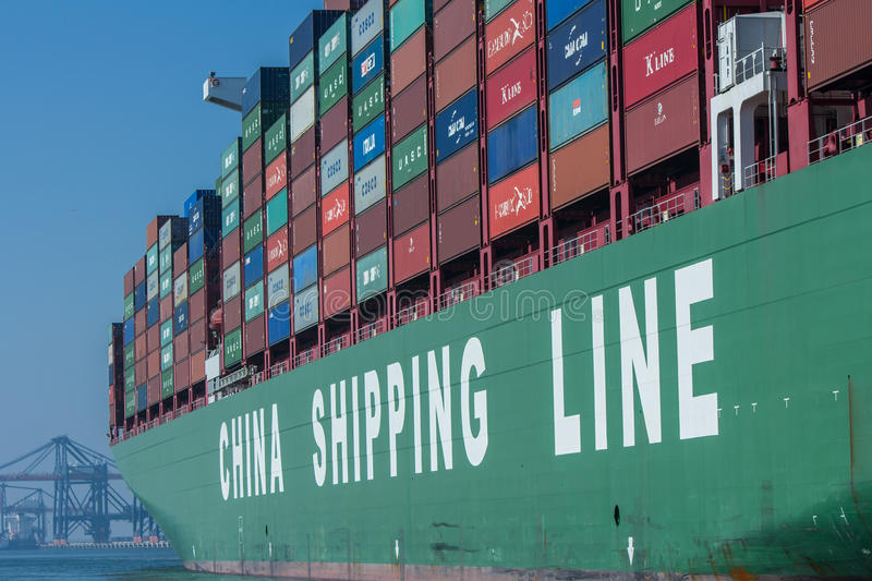 China Shipping Lines container ship. Rotterdam, the Netherlands - April 9, 2017: CSCL China Shipping Lines container ship in Rotterdam harbor royalty free stock images
