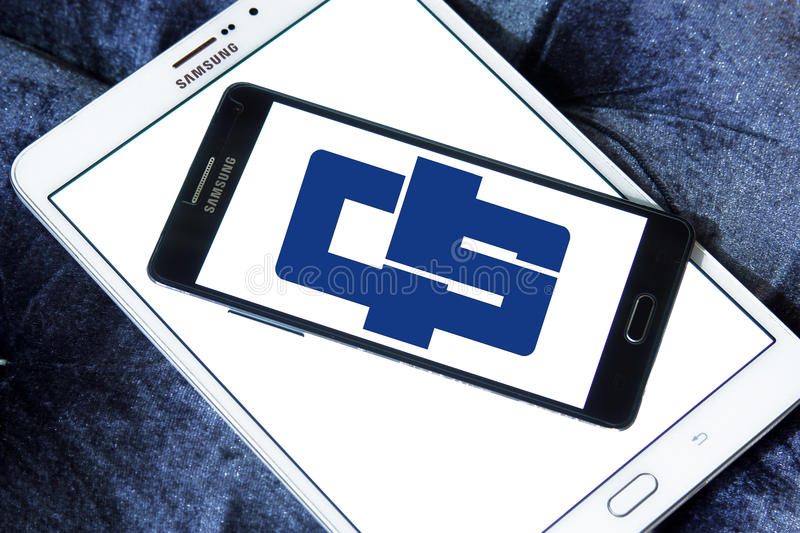 China shipping logo. Logo of container shipping company china shipping on samsung mobile phone on samsung tablet royalty free stock photo