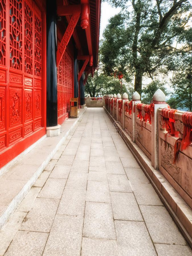 China Sichuan Province Qingcheng Shan holy mountain taoist temple. Detail stock photos