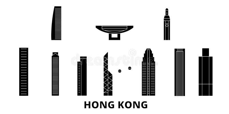 China, sistema plano del horizonte del viaje de Hong Kong China, ejemplo del vector de la ciudad del negro de Hong Kong, símbolo, libre illustration