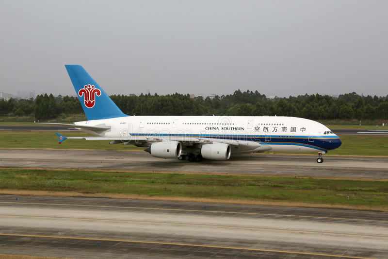 China Southern Airbus A380-800 airplane Chengdu airport. Chengdu, China - May 15, 2016: A China Southern Airbus A380-800 with the registration B-6137 taxis at royalty free stock photos
