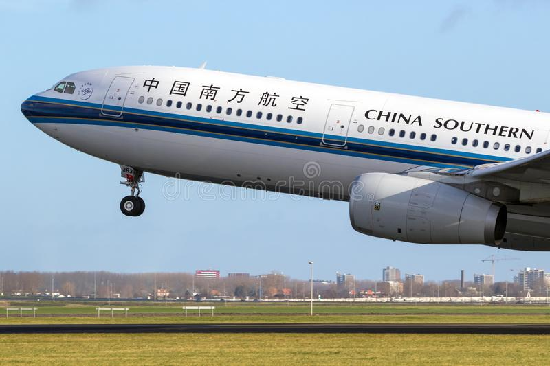 China Southern Airlines Airbus A330 passenger plane. AMSTERDAM, THE NETHERLANDS - JAN 9, 2019: China Southern Airlines Airbus A330 passenger plane taking off stock photo