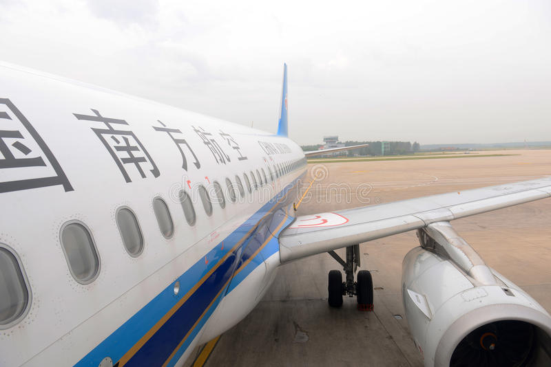 China Southern Airlines A320 bij Shenyang-Luchthaven, China royalty-vrije stock foto