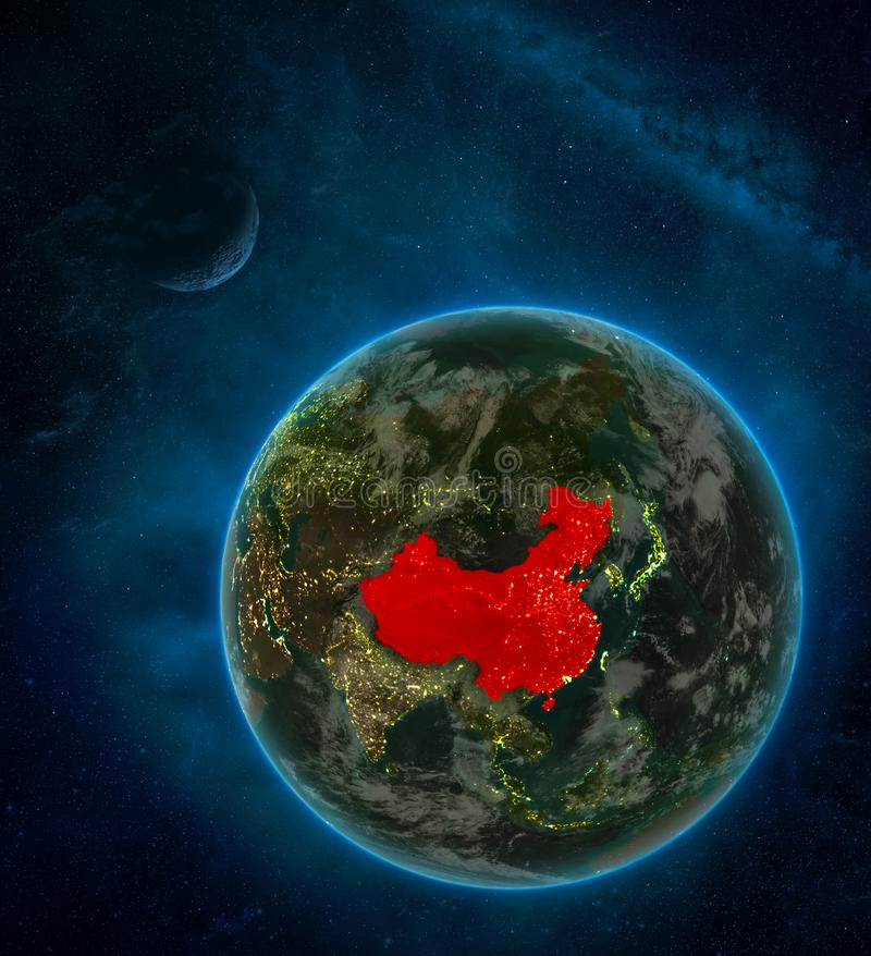 China from space on Earth at night surrounded by space with Moon and Milky Way. Detailed planet with city lights and clouds. 3D. Illustration. Elements of this royalty free illustration