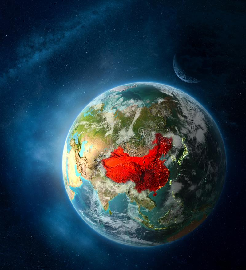 China from space on planet Earth stock images