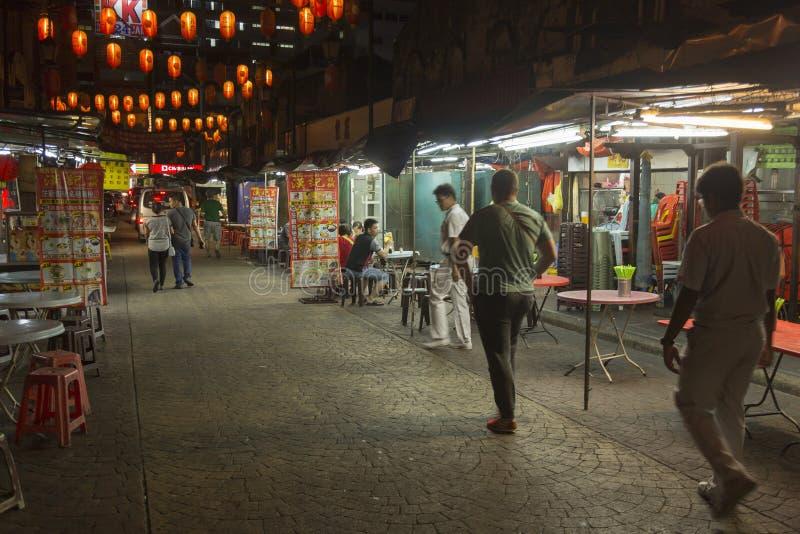 China-Stadt in Kuala Lumpur bis zum Nacht stockfotos