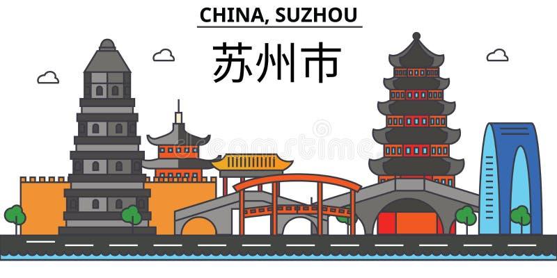 China, Suzhou De architectuur van de stadshorizon editable royalty-vrije illustratie