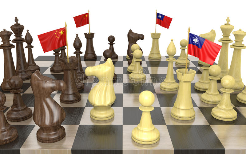 China and Taiwan foreign policy strategy and power struggle, 3D rendering royalty free illustration