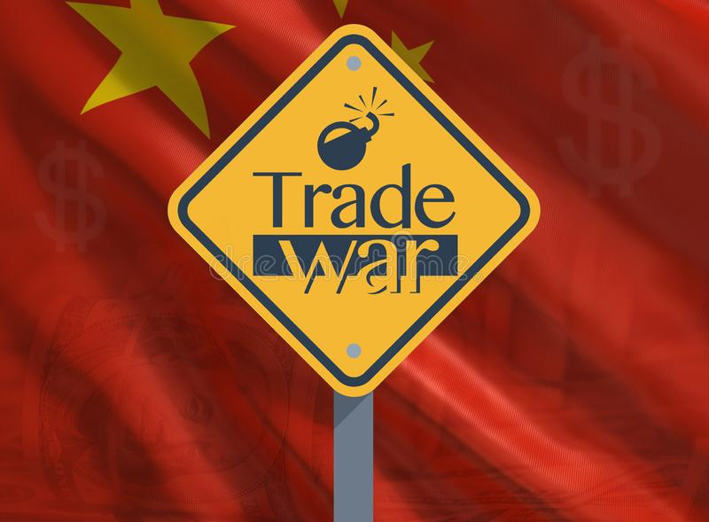 Trade war concept, problems around the world. China tariffs: Trade war concept vector illustration