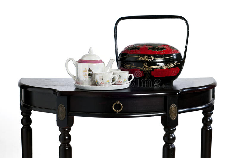 China teapot and boxes. Asian China legitimism wedding and boxes of teapot royalty free stock images