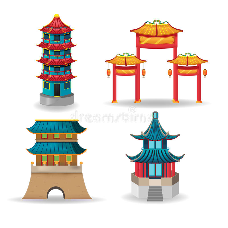 China Temple Collection Design Set Vector stock illustration