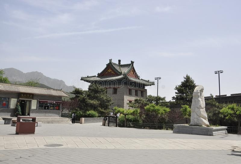 China, 6th may: Juyongguan site courtyard with Chinese Great Wall. Juyongguan site courtyard with Chinese Great Wall a UNESCO World Heritage from China 6th may royalty free stock images