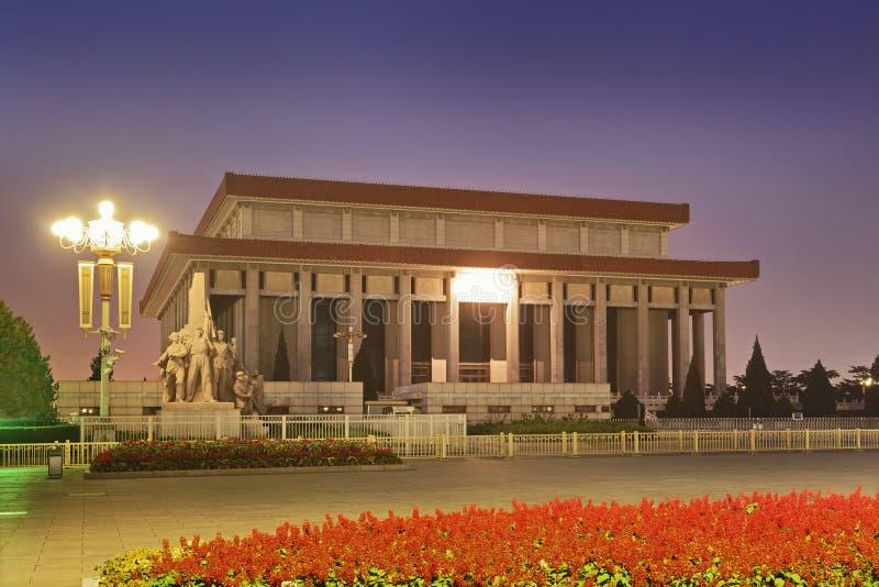 China Tiananmen Mausoleum North. China Beijing Tiananmen Square Mao's mausoleum north side at sunrise illuminated stock image