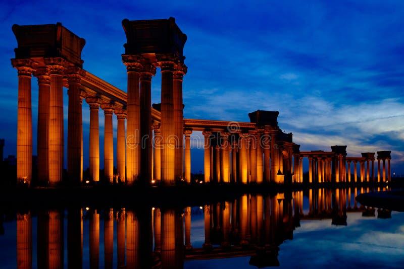 China Tianjin City Scenery -- Binhai Dagang landmarks -- University Park Rome column stock photos