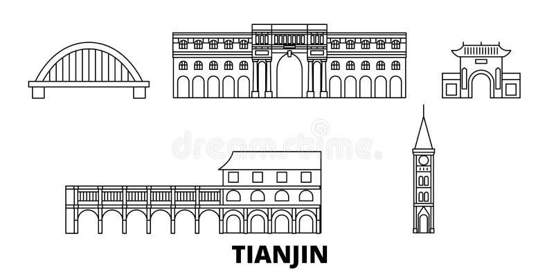 China, Tianjin-de reeks van de de reishorizon van de Stadslijn China, Tianjin-de stads vectorillustratie van het Stadsoverzicht,  stock illustratie