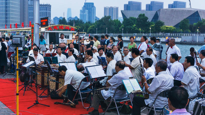 China Tianjin Folk Orchestra stock photography